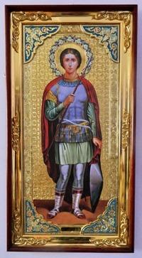 Георгий Победоносец (рост), с багетом. Большая Храмовая икона (58 х 110)