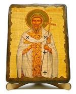 Григорий Двоеслов, Святитель, Папа Римский, икона под старину, на дереве (17х23)