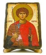 Георгий Победоносец (пояс), икона под старину, на дереве (17х23)