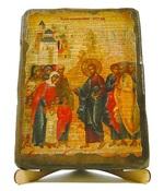 Благословление детей, икона под старину, на дереве (17х23)