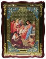 Благословение детей, в фигурном киоте, с багетом. Храмовая икона (60 Х 80)