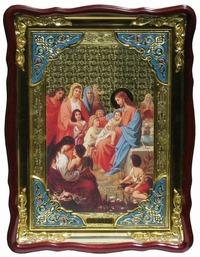 Благословение детей, в фигурном киоте, с багетом. Храмовая икона (82 Х 114)