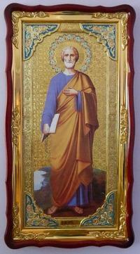 Петр, Св. Ап. (рост), в фигурном киоте, с багетом. Большая Храмовая икона (61 х 112)