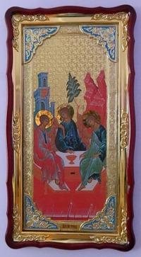 Троица (рост), в фигурном киоте, с багетом. Большая Храмовая икона (61 х 112)