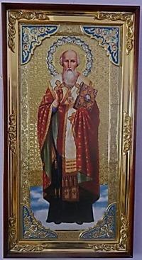 Афанасий  Великий, с багетом. Большая Храмовая икона (58 х 110)