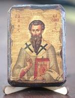 Василий Великий, икона под старину, сургуч (8 Х 10)