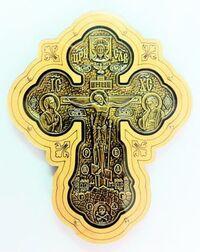 Крест подвесной деревянный (11) JERUSALEM, керамический, большой фигурный, цвет золото