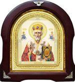 Николай Чудотворец с предстоящими, желтая митра. Аналойная арочная икона (А-25)