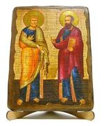 Петр и Павел (рост), икона под старину, на дереве (17х23)