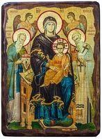 Экономисса Б.М. (с предстоящими), икона под старину, сургуч (17 Х 23)