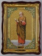 Апостол Петр, в фигурном киоте, с багетом. Храмовая икона (60 Х 80)