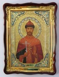 Царь Николай, Св. муч., в фигурном киоте, с багетом. Храмовая икона 60 Х 80 см