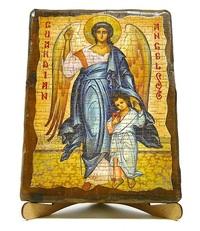 Ангел с детьми, икона под старину, на дереве (17х23)