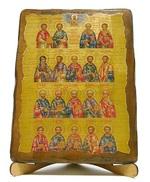 Собор целителей, икона под старину, на дереве (17х23)