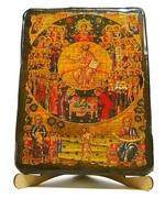 Собор всех святых, икона под старину, на дереве (17х23)