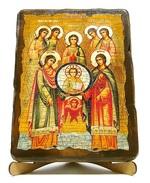 Собор архангела Михаила, икона под старину, на дереве (17х23)