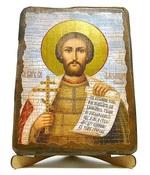 Александр Невский (пояс), икона под старину, на дереве (17х23)