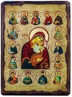 Казанская Б.М. (с предстоящими), икона под старину, сургуч (13 Х 17)