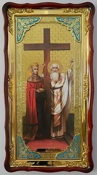Воздвижение Честного Креста Господня, в фигурном киоте, с багетом. Большая Храмовая икона (61 х 112)
