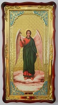 Ангел Хранитель (рост), в фигурном киоте, с багетом. Большая Храмовая икона (61 х 112)