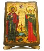 Адриан и Наталья, икона под старину, на дереве (17х23)