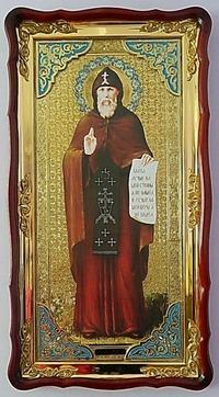 Серафим Вырицкий, в фигурном киоте, с багетом. Большая Храмовая икона (61 х 112)