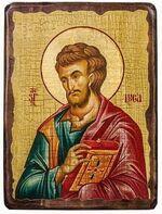 Евангелист Лука (красное одеяние), икона под старину, сургуч (13 Х 17)