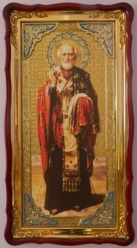 Николай Чудотворец, без митры, темн. од., (рост), с багетом. Большая Храмовая икона (61 х 112)