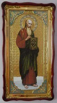 Апостол Иоанн Богослов (рост), в фигурном киоте, с багетом. Большая Храмовая икона (61 х 112)