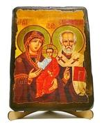 Николай и Богородица, икона под старину, на дереве (17х23)
