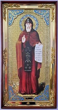 Серафим Вырицкий (рост), с багетом. Большая Храмовая икона (58 х 110)