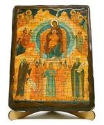 Собор Богородицы, икона под старину, на дереве (17х23)
