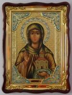 Ангелина Св. муч., в фигурном киоте, с багетом. Храмовая икона 60 Х 80 см.