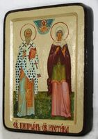 Киприан и Устиния, икона Греческая, 13 Х 17