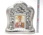 Николай Чудотворец, керамика, икона большая, цвет серебро (СА).