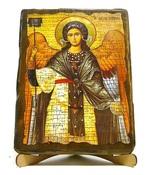 Архангел Гавриил (пояс), икона под старину, на дереве (17х23)
