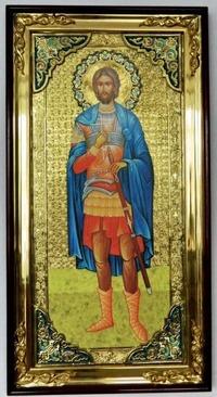 Иоанн Воин (рост), с багетом. Большая Храмовая икона (58 х 110)