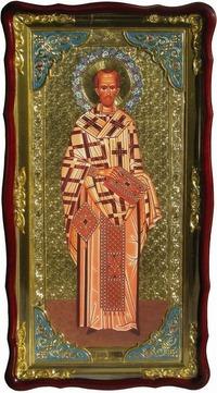 Иоанн Златоуст (рост), в фигурном киоте, с багетом. Большая Храмовая икона (61 х 112)