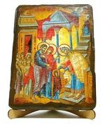 Введение во Храм Пресвятой Богородицы, икона под старину, на дереве (17х23)
