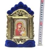 Казанская Б.М., керамика, икона средняя, флокированная, цвет синий - золото (СА).