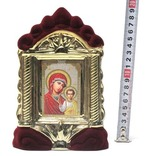 Казанская Б.М., керамика, икона средняя, флокированная, цвет бордовый - золото (СА).