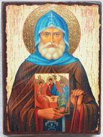 Александр Свирский, (пояс), икона под старину JERUSALEM панорамная, с клиньями (13 Х 17)