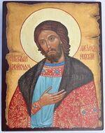 Александр Невский, икона под старину JERUSALEM панорамная, с клиньями (13 Х 17)