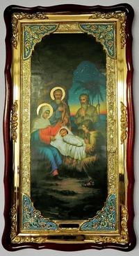 Рождество Христово, в фигурном киоте, с багетом. Большая Храмовая икона (61 х 112)