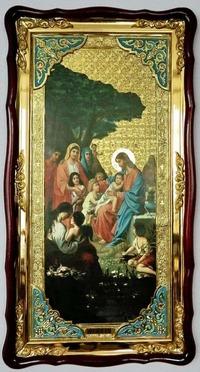 Благословение детей, в фигурном киоте, с багетом. Большая Храмовая икона (61 х 112)