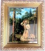 Серафим Саровский, Моление на камне, Икона в багетной рамке 14 Х 16