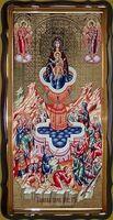 Живоносный источник Б.М., в фигурном киоте, с багетом. Большая Храмовая икона 120 х 230 см.
