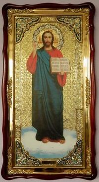 Спаситель (рост, син. од.), в фигурном киоте, с багетом. Большая Храмовая икона (61 х 112)