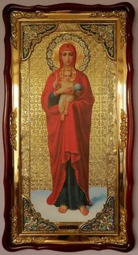 Валаамская Б.М., рост, красн. од., в фигурном киоте,с багетом. Большая Храмовая икона (61 х 112)
