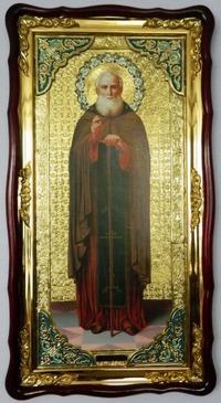 Александр Свирский, (рост), в фигурном киоте, с багетом.Большая Храмовая икона (61 х 112)